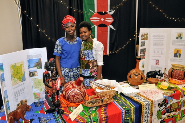 International students, Mercy and Gladys, at the Cultural Gala