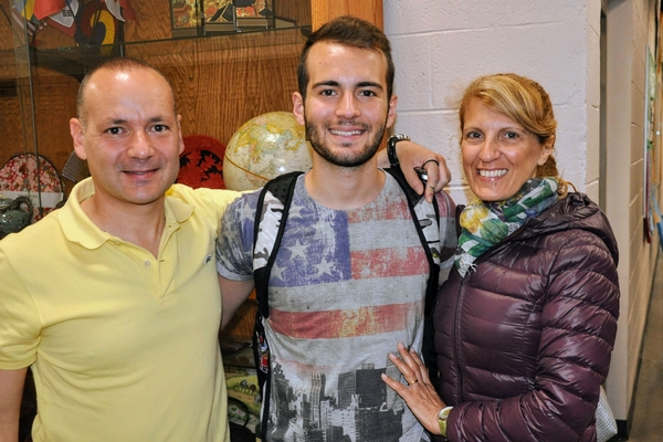 Italian student and his parents before Graduation